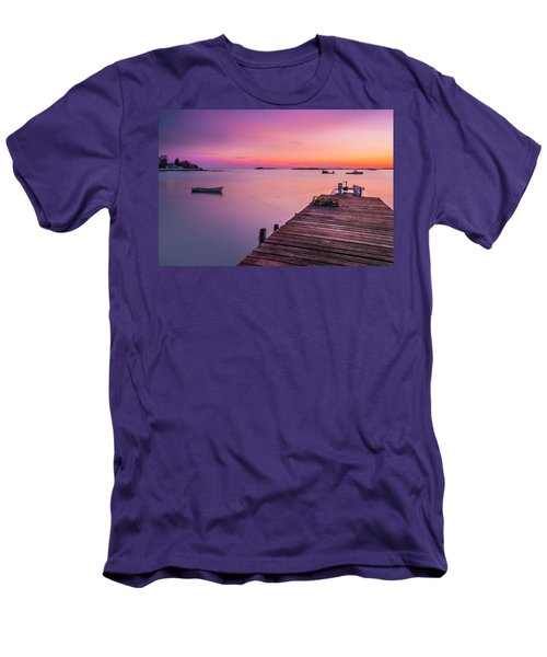 Men's T-Shirt (Slim Fit) featuring the photograph Maine Cooks Corner Lobster Shack At Sunset by Ranjay Mitra