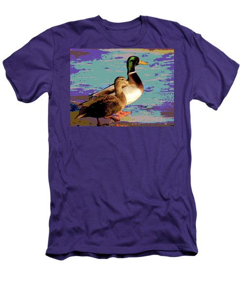 Male And Femal Mallard Men's T-Shirt (Slim Fit) by Charles Shoup