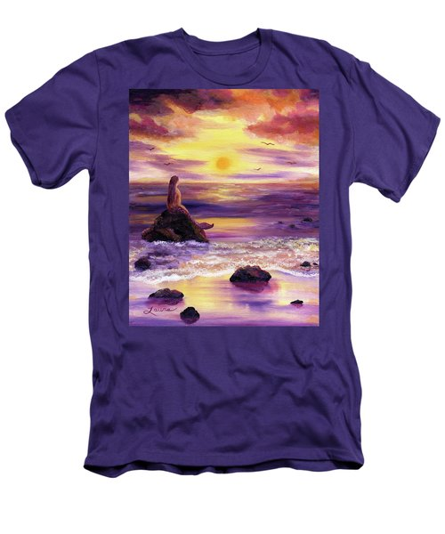 Mermaid In Purple Sunset Men's T-Shirt (Slim Fit) by Laura Iverson