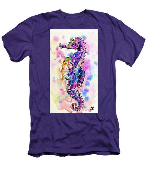 Men's T-Shirt (Slim Fit) featuring the painting Merry Seahorse by Zaira Dzhaubaeva