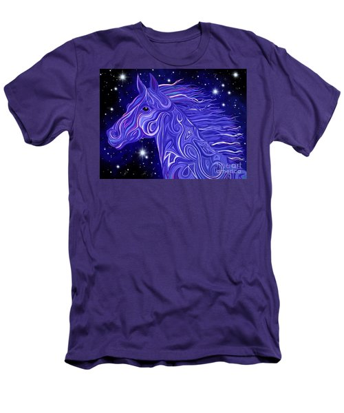 Men's T-Shirt (Slim Fit) featuring the drawing Midnight Blue Mustang by Nick Gustafson