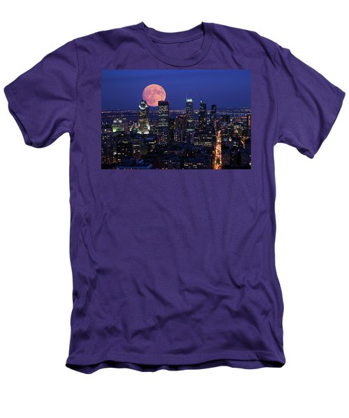 Men's T-Shirt (Slim Fit) featuring the photograph Montreal Supermoon by Mircea Costina Photography