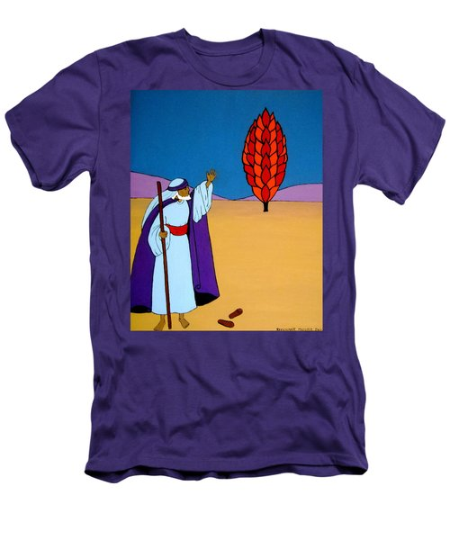 Moses And The Burning Bush Men's T-Shirt (Slim Fit) by Stephanie Moore