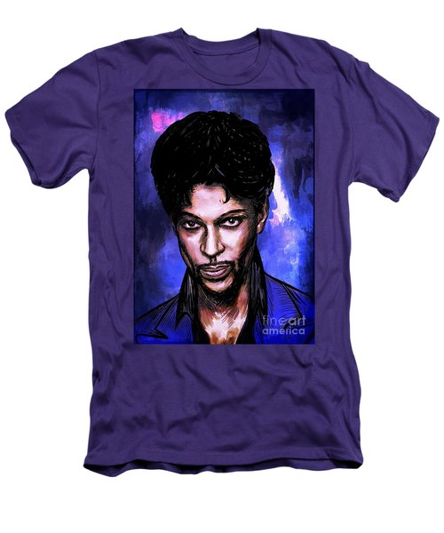 Men's T-Shirt (Slim Fit) featuring the painting Music Legend  Prince by Andrzej Szczerski