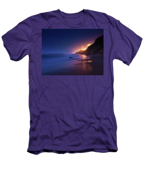 Netanya Beach At Night Men's T-Shirt (Athletic Fit)