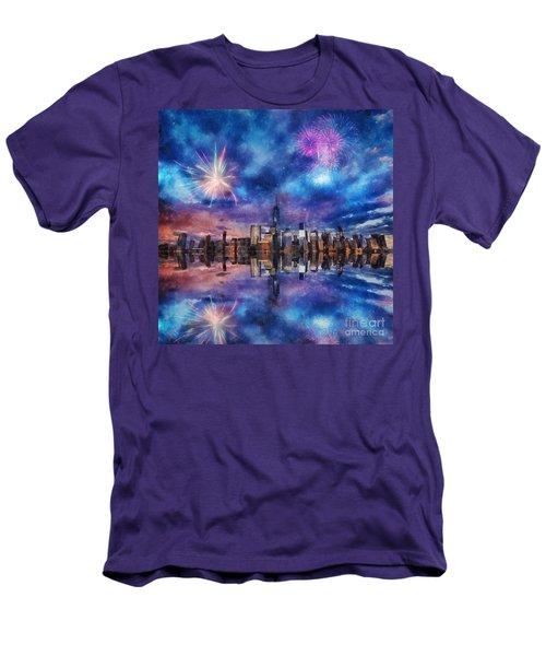 New York Fireworks Men's T-Shirt (Slim Fit) by Ian Mitchell