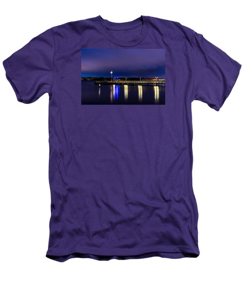 Old Town Pier During The Blue Hour Men's T-Shirt (Slim Fit) by Rob Green