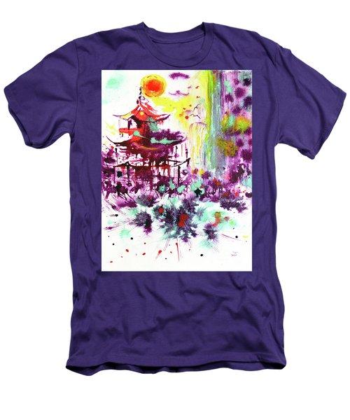 Men's T-Shirt (Athletic Fit) featuring the painting Pagoda by Zaira Dzhaubaeva