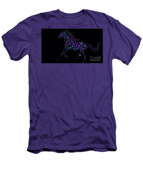 Men's T-Shirt (Slim Fit) featuring the painting Paint Splattered Pony by Nick Gustafson