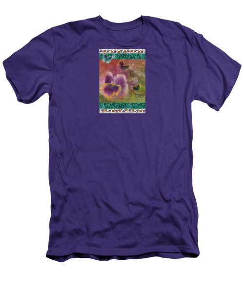 Pansy Butterfly Asianesque Border Men's T-Shirt (Athletic Fit)