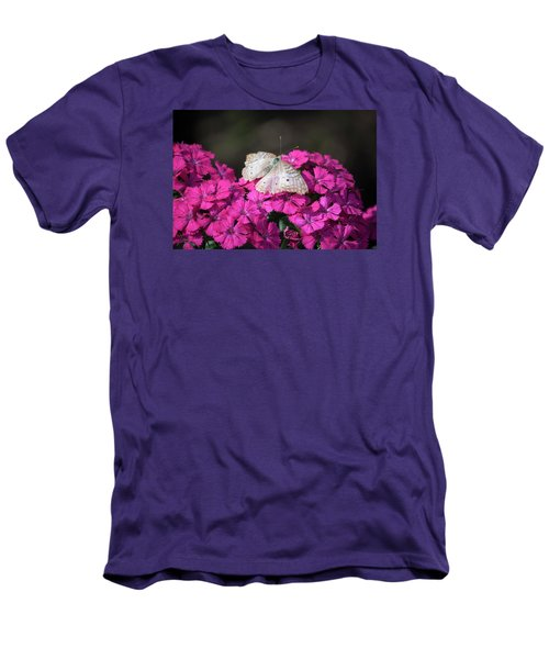 Peacock Butterfly On Fuchsia Phlox Men's T-Shirt (Slim Fit) by Suzanne Gaff