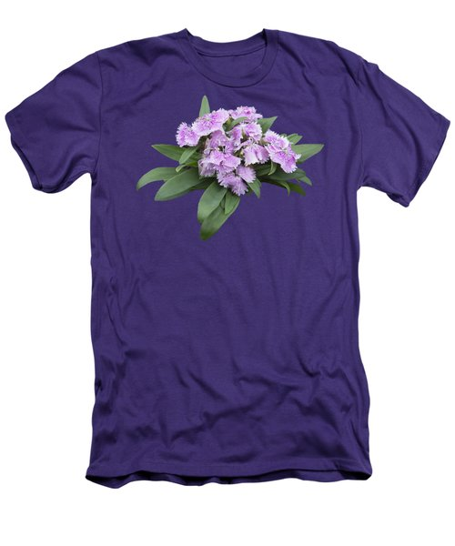 Pink Floral Cutout Men's T-Shirt (Slim Fit) by Linda Phelps