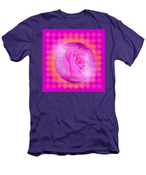 Pink Rose In Globe Men's T-Shirt (Athletic Fit)
