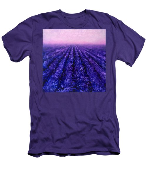Pink Skies - Lavender Fields Men's T-Shirt (Slim Fit) by Karen Whitworth