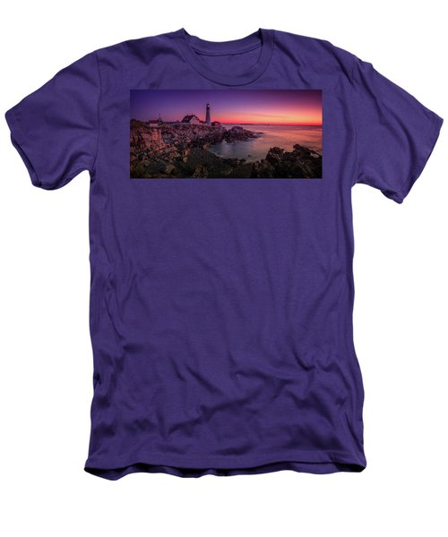 Men's T-Shirt (Slim Fit) featuring the photograph Portland Head Lighthouse Sunrise  by Emmanuel Panagiotakis