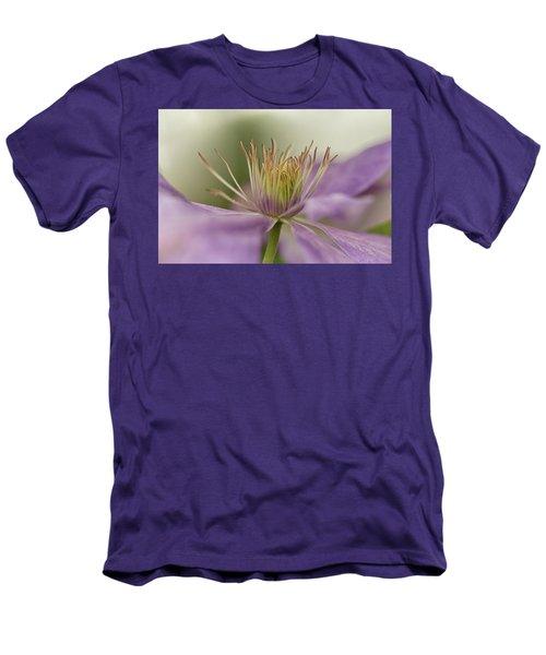 Purple Clematis Macro Men's T-Shirt (Slim Fit) by Jacqi Elmslie