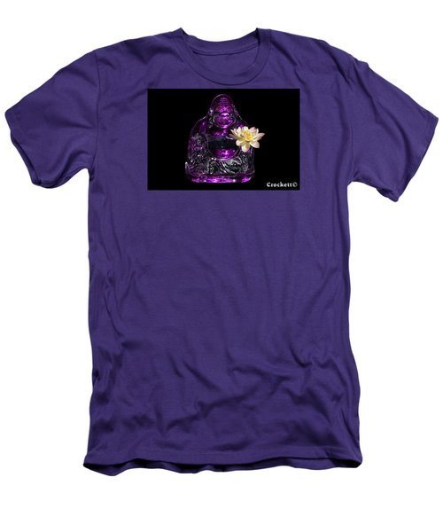 Men's T-Shirt (Slim Fit) featuring the photograph Purple Glass Buddah With Yellow Lotus Flower by Gary Crockett