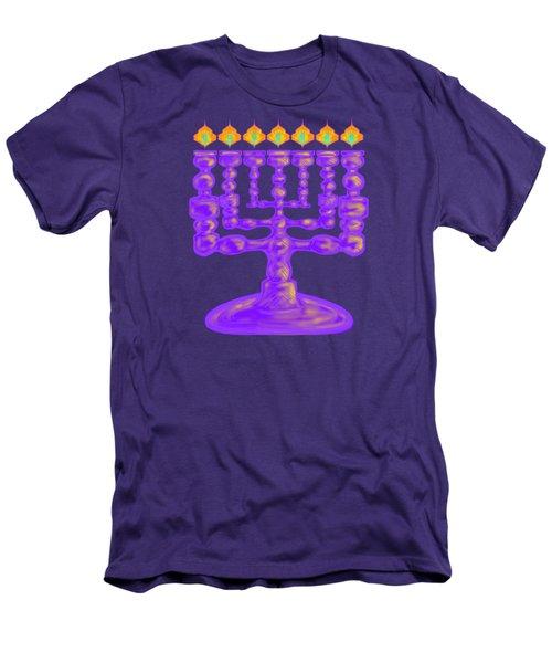 Purple Menorah Flamed Men's T-Shirt (Athletic Fit)