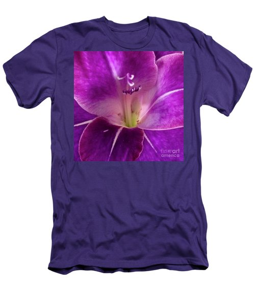 Men's T-Shirt (Slim Fit) featuring the photograph Purple Orchid Close Up by Kim Nelson