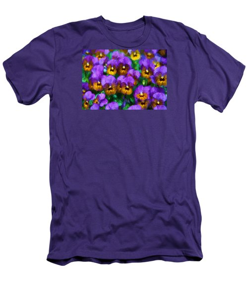 Purple Pansies Men's T-Shirt (Athletic Fit)