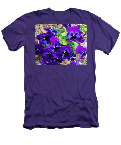 Men's T-Shirt (Slim Fit) featuring the photograph Purple Pansies by Sandi OReilly