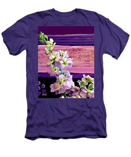 Men's T-Shirt (Slim Fit) featuring the photograph Purple Purple Everywhere by Marsha Heiken