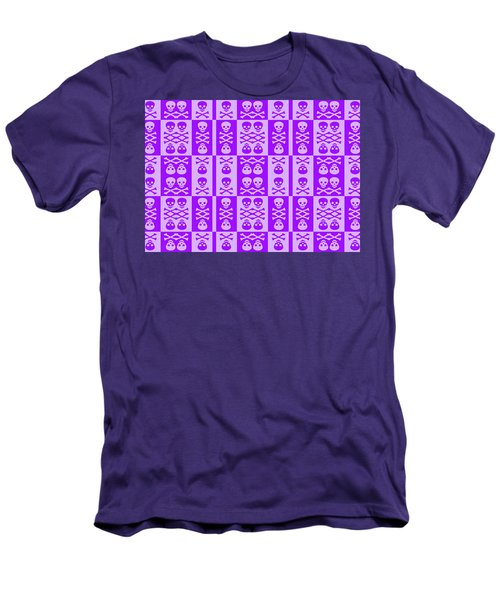 Purple Skull And Crossbones Pattern Men's T-Shirt (Athletic Fit)