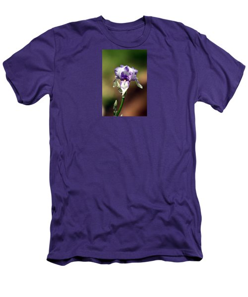 Men's T-Shirt (Slim Fit) featuring the photograph Purple Striped Bearded Iris by Sheila Brown