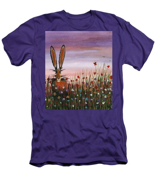 Purple Sunset Hare Men's T-Shirt (Athletic Fit)