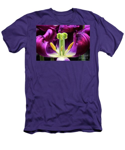 Men's T-Shirt (Slim Fit) featuring the photograph Purple Tulip Macro by Darleen Stry