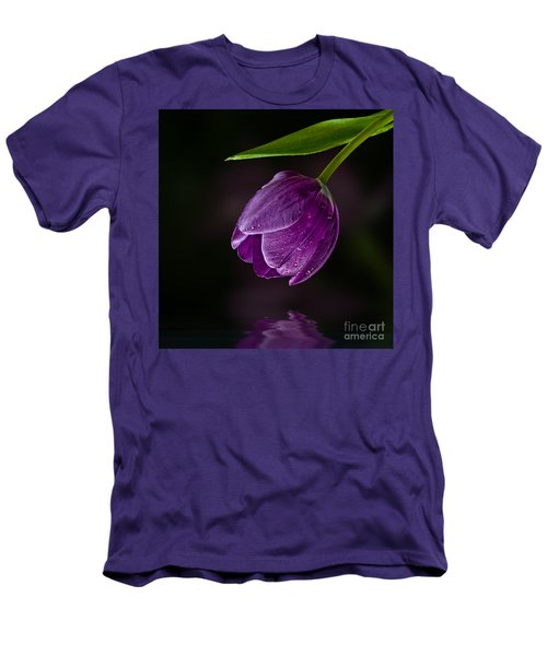 Purple Tulip Men's T-Shirt (Slim Fit) by Shirley Mangini