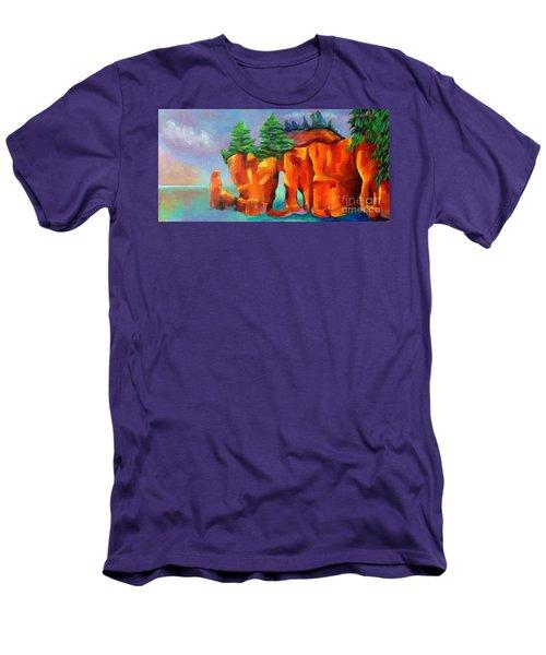 Red Fjord Men's T-Shirt (Slim Fit) by Elizabeth Fontaine-Barr