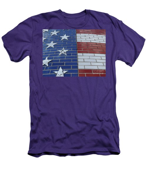 Red White And Blue On Brick Men's T-Shirt (Athletic Fit)