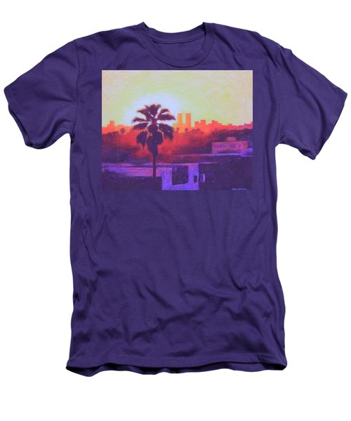 Men's T-Shirt (Slim Fit) featuring the painting Rooftop Glow by Andrew Danielsen
