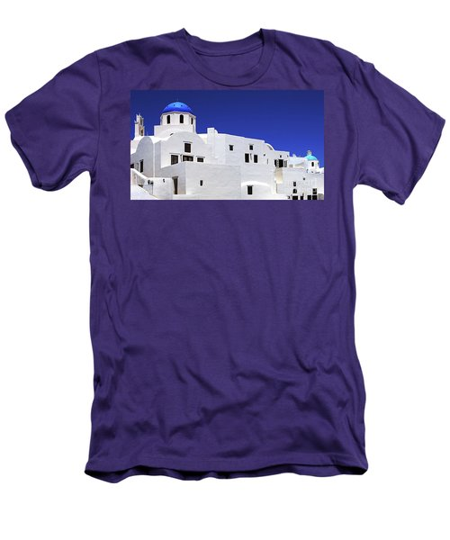 Men's T-Shirt (Slim Fit) featuring the photograph Santorini Greece Architectual Line 6 by Bob Christopher