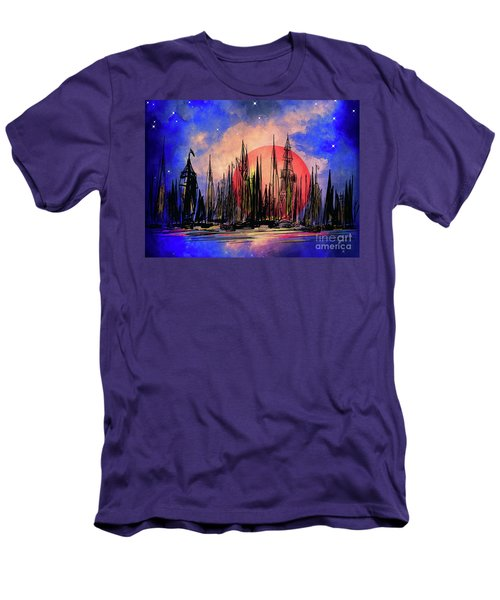 Men's T-Shirt (Slim Fit) featuring the drawing Seaport by Andrzej Szczerski