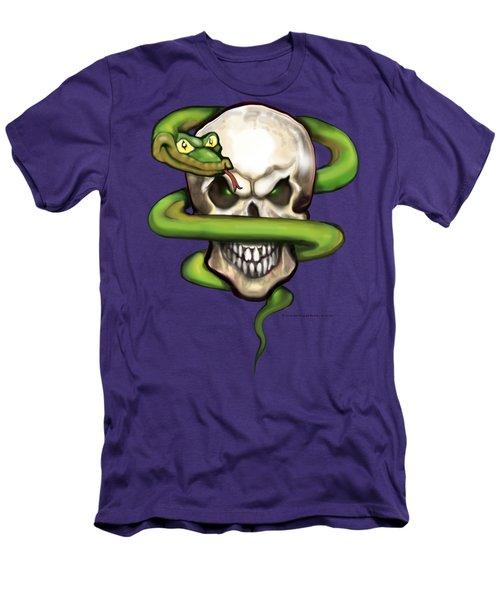Serpent Evil Skull Men's T-Shirt (Slim Fit) by Kevin Middleton