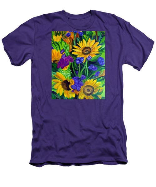 Sunflowers -soaking Up Sunshine Men's T-Shirt (Slim Fit) by Julie Brugh Riffey