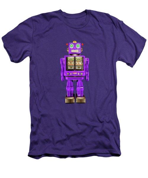 Star Strider Robot Purple On Black Men's T-Shirt (Slim Fit) by YoPedro