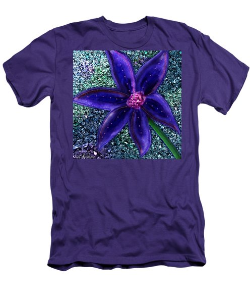 Men's T-Shirt (Athletic Fit) featuring the digital art Summer's Blue Flower by Iowan Stone-Flowers