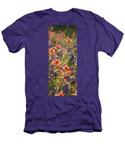 Men's T-Shirt (Slim Fit) featuring the painting Sunlit Wild Flowers by Karen Kennedy Chatham
