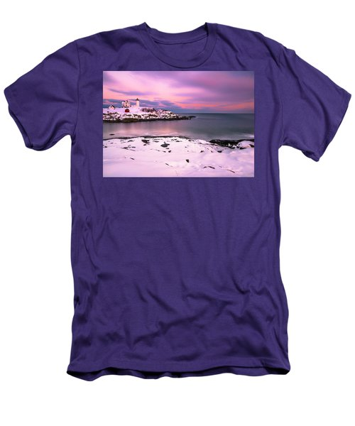 Men's T-Shirt (Slim Fit) featuring the photograph Sunset At Nubble Lighthouse In Maine In Winter Snow by Ranjay Mitra