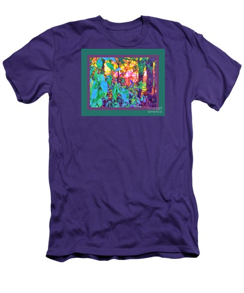 Men's T-Shirt (Slim Fit) featuring the photograph Sunset Thru The Trees Green Border by Shirley Moravec