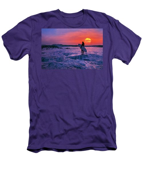 Surfer On Rock Looking Out From Blowing Rocks Preserve On Jupiter Island Men's T-Shirt (Slim Fit) by Justin Kelefas
