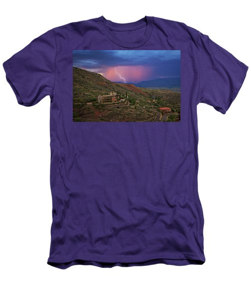 Men's T-Shirt (Athletic Fit) featuring the photograph Sycamore Canyon Lightning With Little Daisy by Ron Chilston