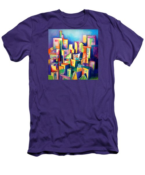 Men's T-Shirt (Slim Fit) featuring the painting The Houses by Kim Gauge