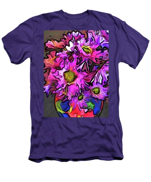 The Pink And Purple Flowers In The Red And Blue Vase Men's T-Shirt (Athletic Fit)