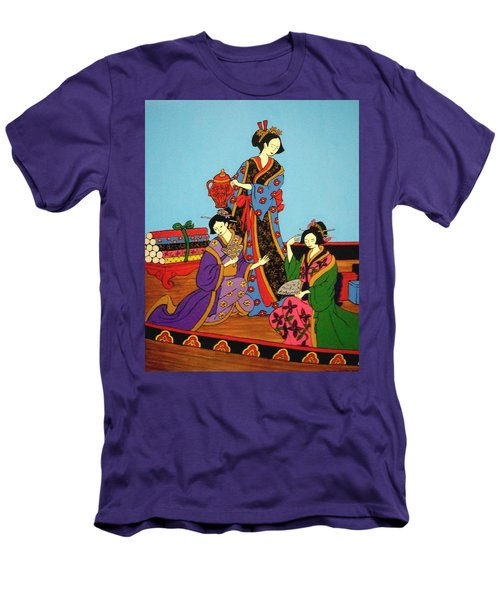 Three Geishas Men's T-Shirt (Slim Fit) by Stephanie Moore
