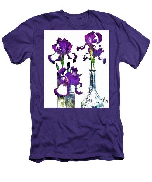 Three Irises In Vases Men's T-Shirt (Slim Fit) by Marsha Heiken
