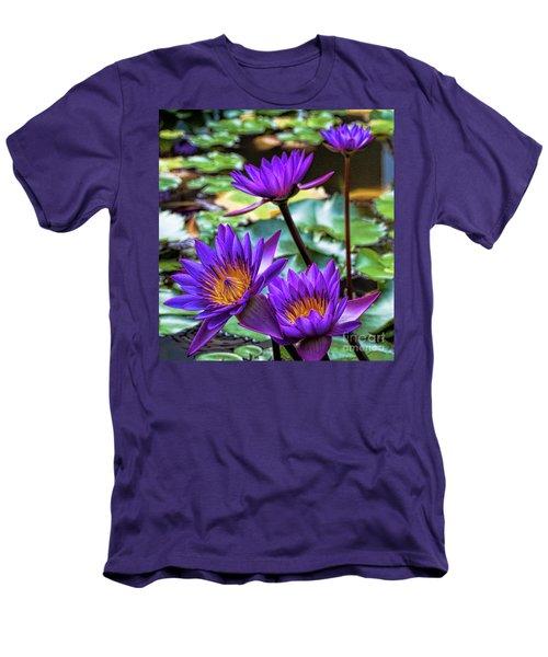 Tropical Water Lilies Men's T-Shirt (Slim Fit) by Karen Lewis